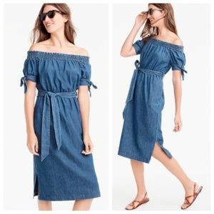 J. Crew Chambray Tie Waist Midi Dress Off Shoulder